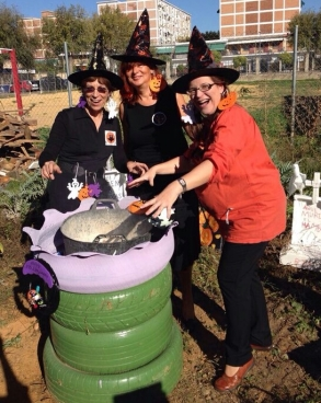 English Teachers with a cauldron, preparing for their act!