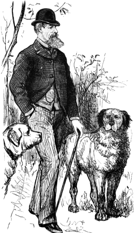 Dickens walking his dogs
